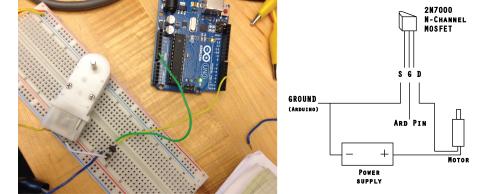 motor circuit diagram with 2N7000
